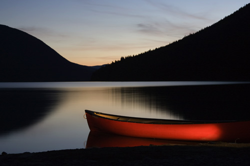 Canoe at dusk at Lanezi Lake.
